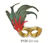 Golden ball mask with black feathers on page 30 cm suitable for adults
