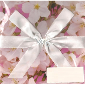 Angel Folding gift box with ribbon pink with flowers 22 x 22 x 13 cm