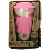 Bamboo Eco Cup Thermo Mug + silicone cap pink 450 ml