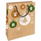 Nekupto Gift kraft bag 25 x 8 x 19 cm Christmas angel, snowflakes, tree 593 WKHM