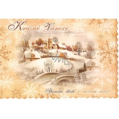 Nekupto Postcard Beautiful Christmas beige teeth, cottages and church