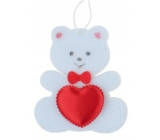 Teddy bear from felt with white heart for hanging 6.5 cm