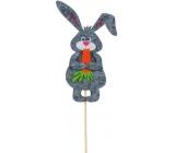 Zápich Zajíček s mrkví šedý 11 cm + špejle