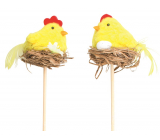 Yellow chick in the nest recess 5 cm + skewers 1 piece