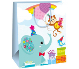 Ditipo Gift paper bag 26.4 x 13.6 x 32.7 cm blue, elephant AB