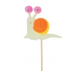 Felt snail colored beige groove 6 cm + skewers