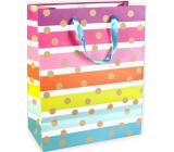 Ditipo Dárková papírová taška Glitter pruhovaná, zlatá kolečka 26,4 x 13,6 x 32,7 cm QAB