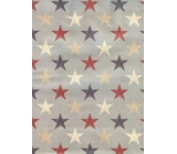 Nekupto Gift kraft bag medium 29 x 22 x 10 cm Gray with stars