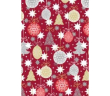 Ditipo Gift wrapping paper 70 x 200 cm Christmas burgundy flasks and trees
