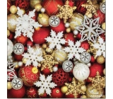 Aha Paper napkins 3 ply 33 x 33 cm 20 pieces Christmas Snowflakes, gold and red baubles