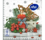 Aha Christmas paper napkins 3 ply 33 x 33 cm 20 pieces Red candle, house