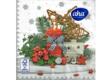 Aha Paper napkins 3 ply 33 x 33 cm 20 pieces Christmas Red candle, house