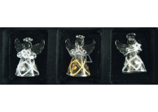 Angels made of glass set of 3 pieces diamond and stones, 4.5 cm