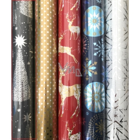 Zöllner Christmas Luxury wrapping paper Platinum gray - silver stars and trees 1.5 mx 70 cm