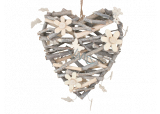 Heart from twigs with flowers and bow ties 24 cm