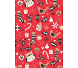Ditipo Gift wrapping paper 70 x 200 cm Christmas KRAFT red owls socks gifts