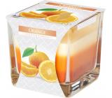 Bispol Orange - Orange tricolor scented glass candle, burning time 32 hours 170 g