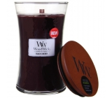 WoodWick Black Cherry - Black cherry scented candle with wooden wick and lid glass large 609.5 g