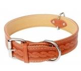 Tatrapet Collar Leather collar, cowhide molded pattern - cognac 4 x 65 cm