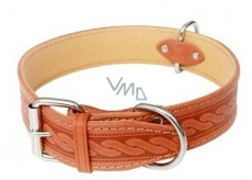 Collar Leather collar, cowhide embossed pattern - cognac 4 x 65 cm