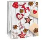 Ditipo Gift paper bag 18 x 10 x 22.7 cm decor wood various ornaments C