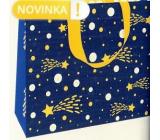 Nekupto Gift paper bag luxury 30 x 23 cm Blue with comet Christmas WLFL