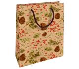 Nekupto Gift kraft bag 25 x 8 x 19 cm Christmas cones, needles 592 WKHM