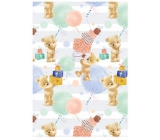 Ditipo Wrapping paper white-green, teddy bears, gifts 100 x 70 cm 2 pieces