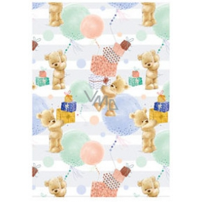 Ditipo packing papers 2pcs 70x100cm - white-green teddy bears gifts
