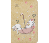 Albi Diary 2021 pocket weekly Kraft Rabbits 15.5 x 9.5 x 1.2 cm