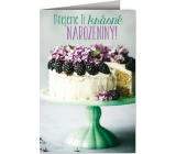 Nekupto Birthday card Cake with blackberries 115 x 170 mm 3612 J