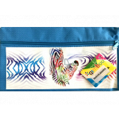Donau Gimboo School case with zipper blue zebra 22 x 12 cm