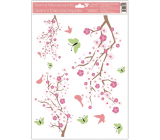Room Decor Window foil 3 branches pink flowers, green butterflies with glitter 30 x 42 cm