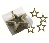 Stars gold 7,5 cm 6 pieces in a box