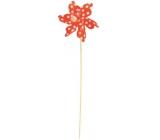 Pinwheel with large polka dots orange 9 cm + skewers 1 piece