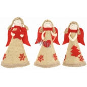 Jute angel with red wings for standing 19 cm 1 piece