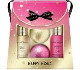 Baylis & Harding Cocktail hour Peach Bellini washing gel 100 ml + Raspberry rose hand and body lotion 100 ml + sparkling bath ballist 2 x 140 g, cosmetic set