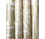 Zöwie Gift wrapping paper 70 x 150 cm Christmas Luxury Urban with embossing gold - Merry Christmas, gold snowflakes
