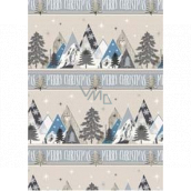 Ditipo Gift wrapping paper 70 x 200 cm Christmas silver mountains Merry Christmas