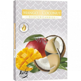 Bispol Aura Mango & Coconut - Mango and coconut scented tea candles 6 pieces