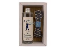 Bohemia Gifts & Cosmetics Dead Sea Salt Sportsman shower gel 250 ml + wooden bow tie, men's cosmetic set