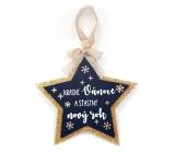 Nekupto Christmas wooden star decoration Beautiful Christmas and happy New Year 14 x 14 cm
