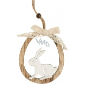 Bunny oval for hanging wooden 11 cm