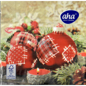 Aha Paper napkins 3 ply 33 x 33 cm 20 pieces Christmas Red flasks with patches