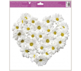 Window foil without glue Heart of chrysanthemum flowers 30 x 33.5 cm