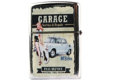 Bohemia Gifts Retro metal petrol lighter with Garage 5.5 x 3.5 x 1.2 cm print
