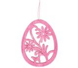 Egg for hanging wooden 10 cm, pink