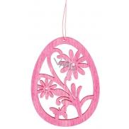 Wooden egg for hanging 10 cm, pink