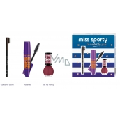 Miss Sports Pump Up Booster Extra Black Mascara 12 ml + Lasting Color Nail Polish 151 7 ml + Eyebrow eyebrow pencil 002 1.8 g, cosmetic set