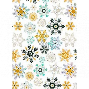 Ditipo Gift wrapping paper 70 x 150 cm Christmas white holographic gold and black snowflakes